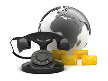Communication symbols - retro phone, earth globe and envelopes Royalty Free Stock Images