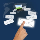 Communication system. Image of hand point mail from information communication technology Stock Photography