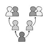 Communication team concept. Connection icon with people and arrow isolated on the white background Stock Images
