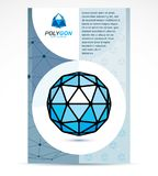 Communication technologies advertising poster. 3d design, abstra. Ct vector blue faceted shape Stock Photos