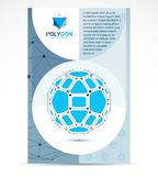Communication technologies advertising poster. 3d design, abstra. Ct vector blue faceted shape Royalty Free Stock Photography