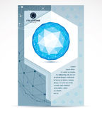 Communication technologies advertising poster. 3d design, abstra. Ct vector blue faceted shape Royalty Free Stock Images