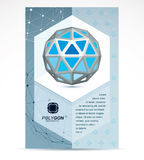 Communication technologies advertising poster. 3d design, abstra. Ct vector blue faceted shape Stock Image