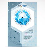 Communication technologies advertising poster. 3d design, abstra. Ct vector blue faceted shape Stock Photo