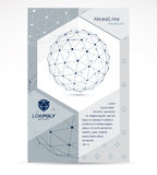 Communication technologies advertising poster. 3d polygonal mono. Chrome geometric faceted object, vector abstract design element Stock Photography