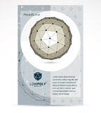 Communication technologies advertising poster. 3d polygonal mono. Chrome geometric faceted object, vector abstract design element Stock Photo