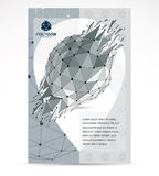 Communication technologies advertising poster. 3d polygonal mono. Chrome geometric faceted object, vector abstract design element with wreckage Stock Photography