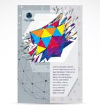 Communication technologies business corporative flyer template. Graphic vector illustration. Abstract bright demolished geometric form, 3d shape with splinters royalty free illustration
