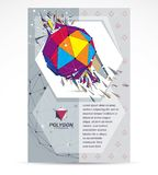 Communication technologies business corporative flyer template. Graphic vector illustration. Abstract bright demolished geometric form, 3d shape with splinters vector illustration