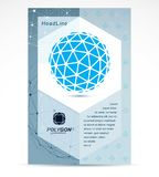 Communication technologies business corporative flyer template. Graphic vector illustration. Tech abstract blue shape, polygonal figure royalty free illustration
