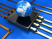Communication technology. Abstract 3d illustration of processor with earth globe Royalty Free Stock Photography
