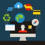 Communication technology concept. Flat media icons Stock Photos