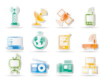 Communication and technology icons. Icon set Royalty Free Stock Photos