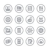 Communication and technology line icons on white. Eps 10 file, easy to edit Royalty Free Stock Images