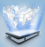 Communication technology with mobile phone Stock Image