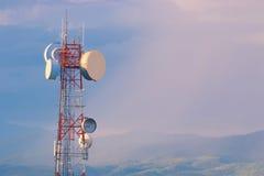 Communication telephone tower at sunset Stock Image