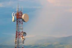Communication telephone tower at sunset Royalty Free Stock Photos