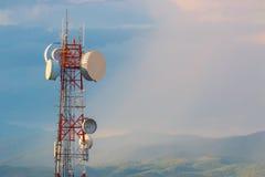 Communication telephone tower at sunset Royalty Free Stock Photo