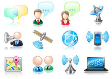 Communication theme icon set Stock Images