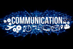 Communication title isolated on a background and surounded by mu Stock Image