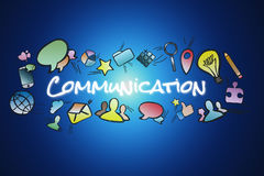 Communication title isolated on a background and surounded by mu Stock Images