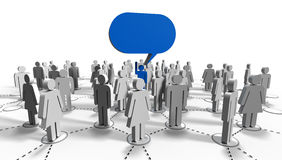 Communication to the crowd with blue balloon message Royalty Free Stock Images