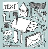 Communication tools. A hand drawn communication objects set Royalty Free Stock Photography