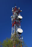 Communication tower. Telecommunication tower on blue sky royalty free stock photo