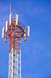 Communication tower. The communication tower on a bule sky Royalty Free Stock Photo