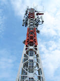 Communication tower. View on mobile operator communication  tower Royalty Free Stock Image