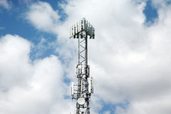 Communication tower. That links to wireless mobile phones Royalty Free Stock Images