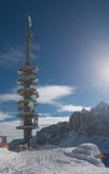 Communication tower with antennas. Selva di Val Gardena, Italy Stock Photography
