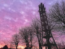 Communication tower background telephone transmit purple sky silhouette dusk morning copy space.  royalty free stock image