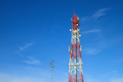 Communication tower. With blue sky Stock Photos