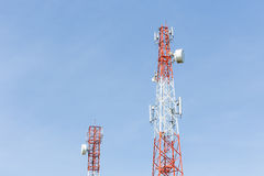 Communication Tower on blue sky background Stock Images