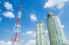 Communication tower and building Royalty Free Stock Image