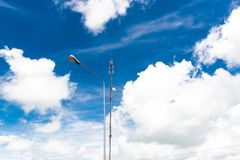 Communication tower and cellphones with blue sky Stock Images