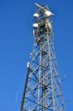 Communication Tower with dishes Stock Photo