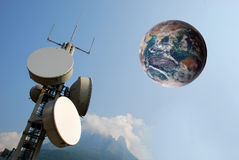 Communication tower and earth on the sky Stock Image