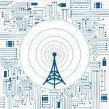 Communication tower and electronics circuit Stock Photo