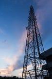 Communication tower evening scene Stock Image
