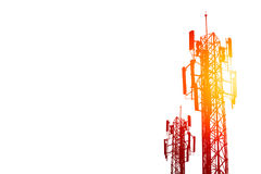 Communication tower or 3G 4G network telephone cell site on white. Communication tower or 3G 4G network telephone cellsite isolated on white with color effect Royalty Free Stock Images