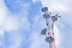 Communication tower, high power wifi antenna post hotspot long range. Royalty Free Stock Photo