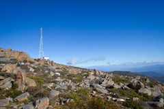 Communication tower. At the peak of Mt Wellington royalty free stock photos