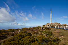 Communication tower. At the peak of Mt Wellington stock photos