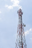 Communication tower with satellite dishes. And aerials Stock Photos