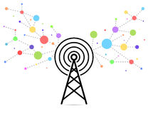 Communication tower and signals illustration Stock Images
