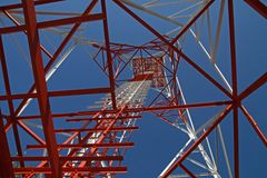 Communication tower structure. Up view of Communication tower steel structure Royalty Free Stock Images