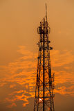 Communication tower during sunset Stock Images