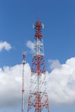 Communication Tower. Telecommunication tower against cloudy sky Stock Photography